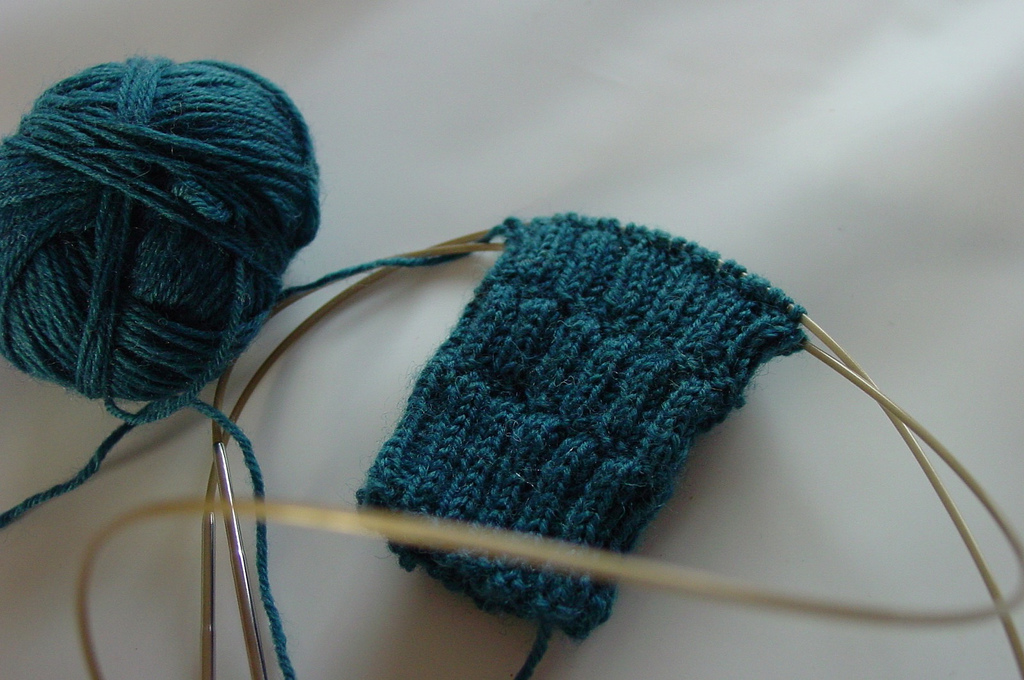 Knitting Wristlets on Two Circular Needles