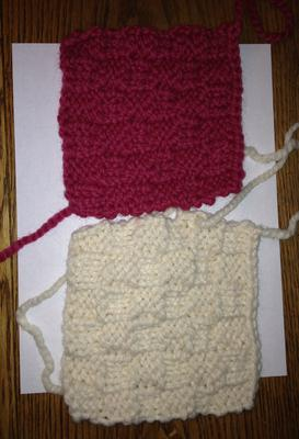 Two knitted squares