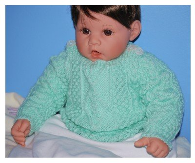 Patons Baby Aran Sweater Pattern knitted in Mint 4 Ply