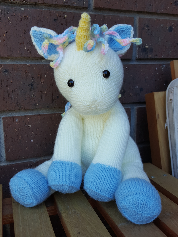 Hand Knitted Unicorn Toy