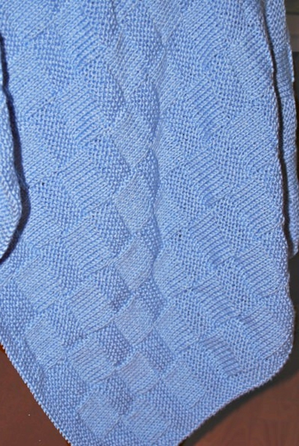 Hand Knitted Garter Stitch Check Baby Blanket