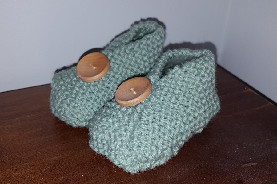 Finished Garter Stitch Booties in sage green