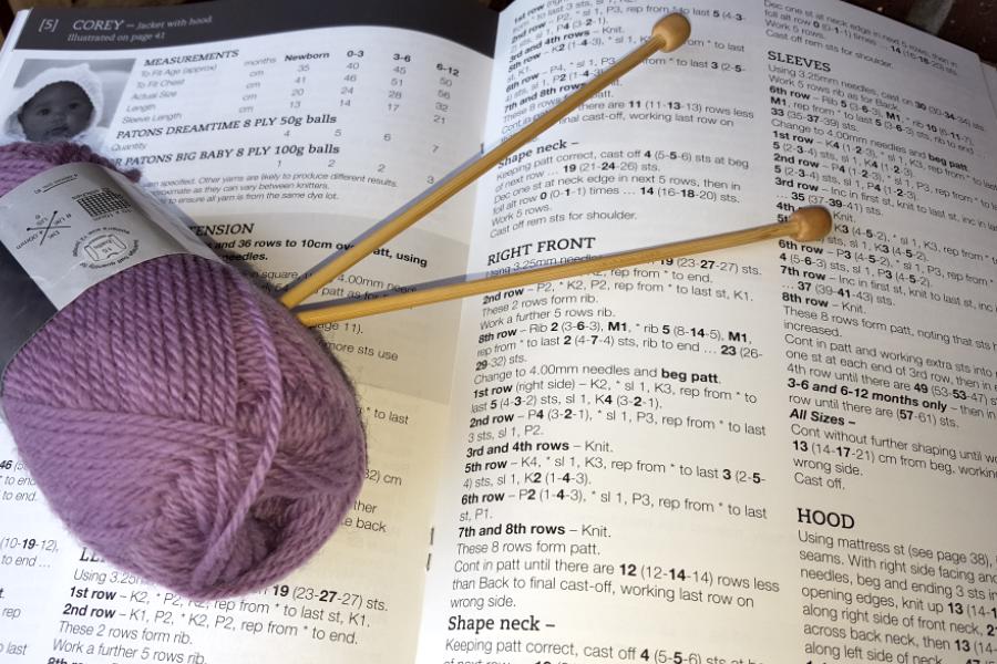 Knitting Pattern and a ball of wool