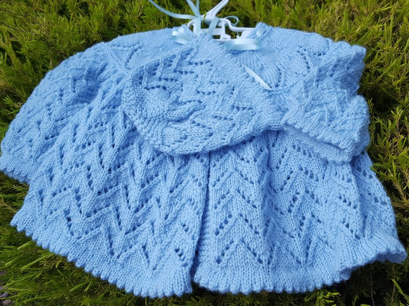 Hand Knitted Matinee Jacket in a Zig Zag Lace Knitting Stitch Pattern