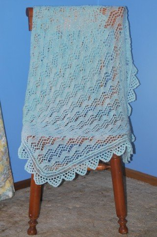 Mint Green 2 )Ply Baby Shawl