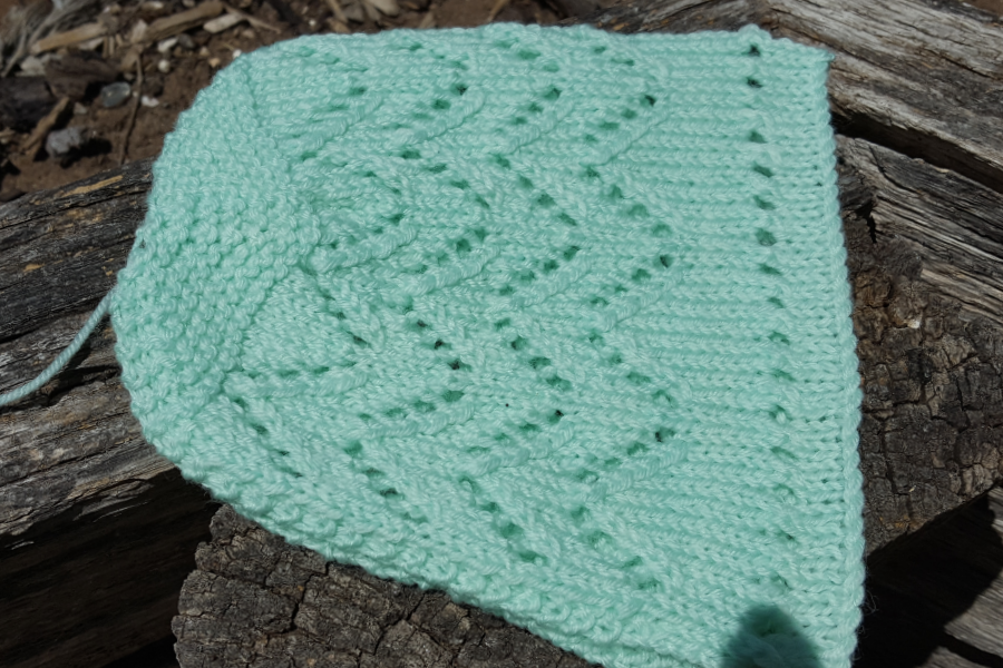 Finished bonnet before it the seam is done at the crown